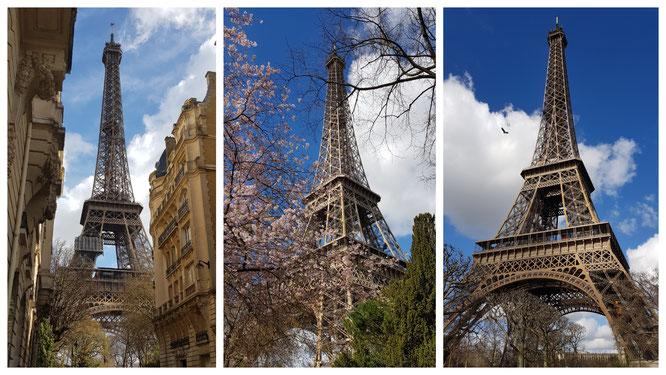 der Eiffelturm in Paris aus unterschiedlichen Blickwinkeln