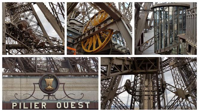 Impressionen vom Eiffelturms in Paris - Räder, Lampen, Treppen