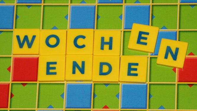 """""""Wochenene"""" aus Scrabble-Steinen"""
