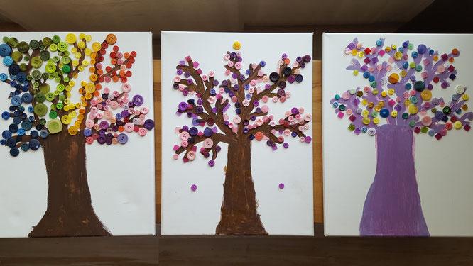 Feenwaldbäume auf Leinwand mit Knöpfen und Mosaiksteinen