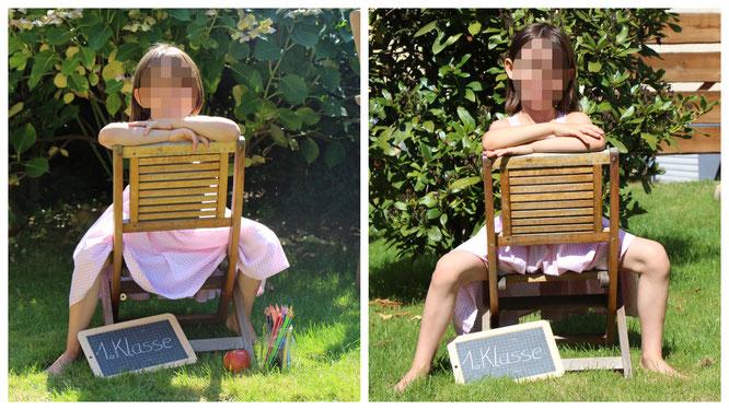 Unser Schulkind mit auf einem Stuhl