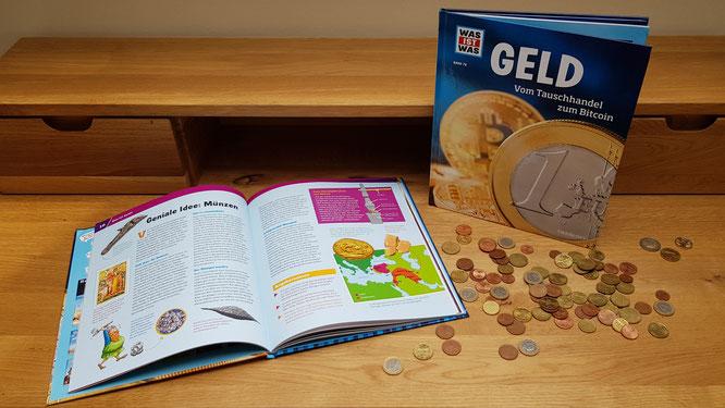"""Das WAS-IST-WAS Buch """"GELD - Vom Tauschhandel zum Bitcoin"""" aus dem Tessloff-Verlag"""