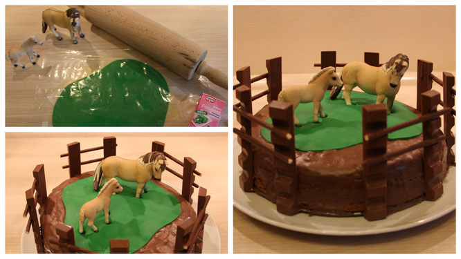 Zusammen mit Fondant, Kinderschokolade und Schleichpferden wird aus dem Mamorkuchen eine Pferdekoppel