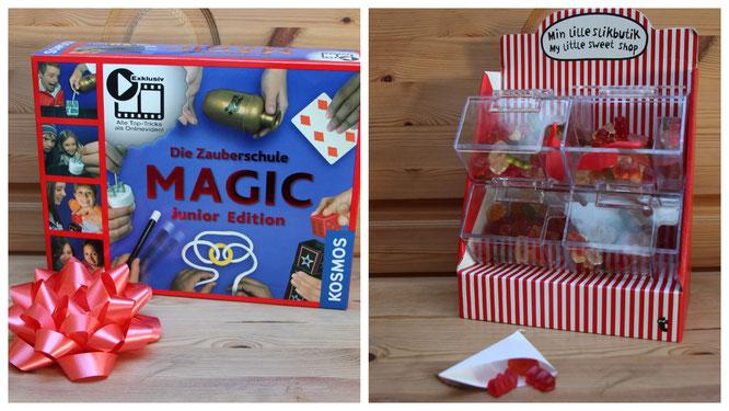Ein Zauberkasten und ein kleiner Süßigkeitenstand für unsere Achtjährige zum Geburtstag