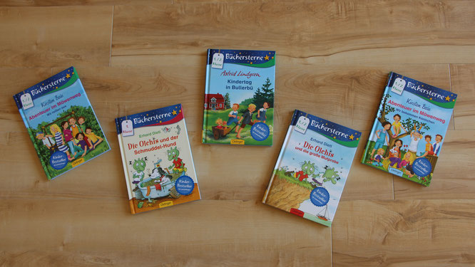 Fünf Bücher der Büchersterne-Reihe aus dem Oetinger-Verlag