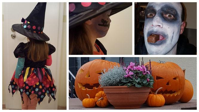 Unsere Hexe und unser Sensenmann feiern Halloween