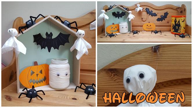 Unsere Halloween-Deko: Selbst gebastelte Fledermäuse, Spinnen, Gespenster und Laternen