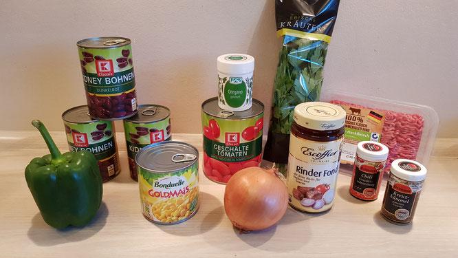 Die Zutaten für ein leckeres Chili con carne