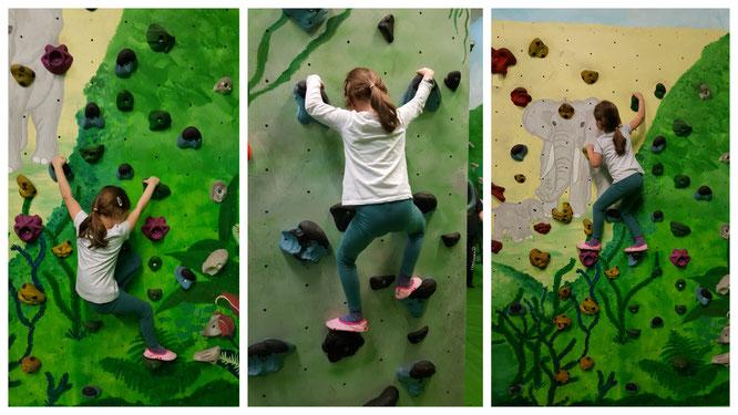 Unsere Kleine in der Boulderwelt Frankfurt (am Main)