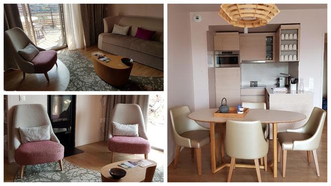 Wohn- und Essbereich sowie Küche in unserem Ferienappartement im Villages Nature Paris