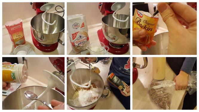 Alle Zutaten für die Lebkuchen-Cookies werden in die Schüssel gegeben