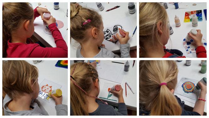 Die Mädels schaffen ihre zweiten Glas-Kunstwerke