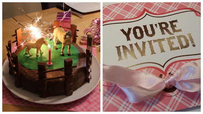 Einladung und Geburtstagskuchen für unsere Achtjährige