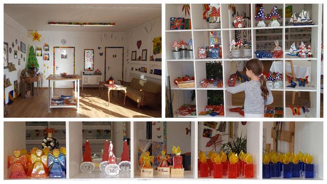 Kunstwerke in der Glas Creativ Werkstatt in Groß-Rohrheim
