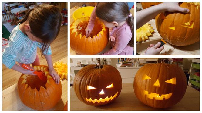 Wir schnitzen Halloween-Kürbisse