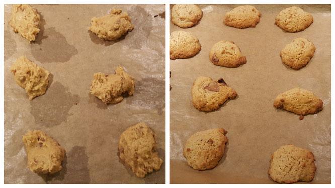 Die Lebkuchen-Cookies vor und nach dem Backen auf dem Backblech