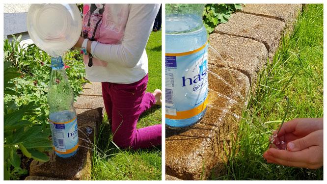 Wir machen ein Experiment zum Thema Wasserdruck