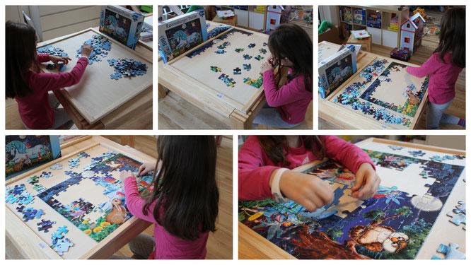 Unsere Kleine puzzelt ein Ravensburger-Puzzle