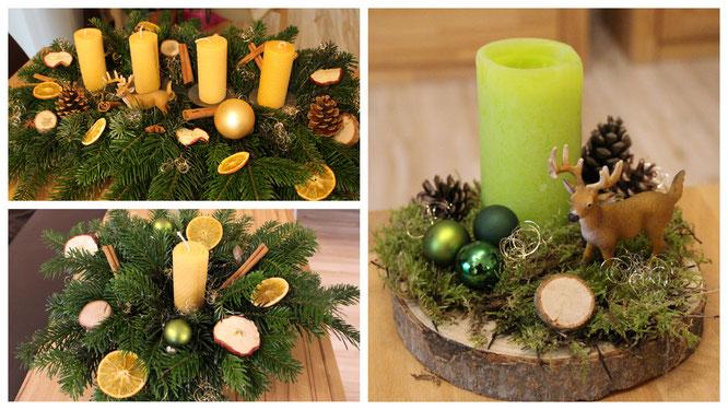 Unsere diesjährigen Adventsgestecke