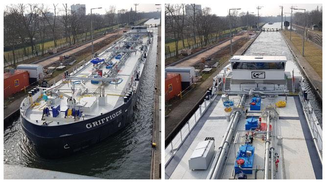 Ein Schiff in der Schleuse Griesheim in Frankfurt am Main