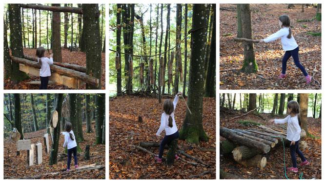 Unsere Kleine spielt Instrumente aus Naturmaterialien im Abenteuerwald