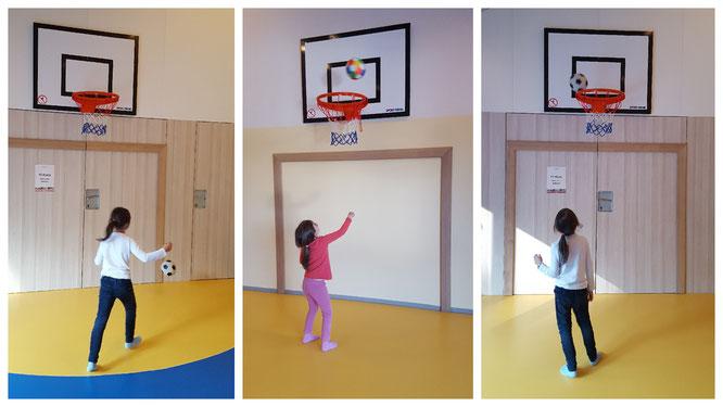 Unsere Mädels spielen Basketball im Turnraum im Landhotel zur Ohe