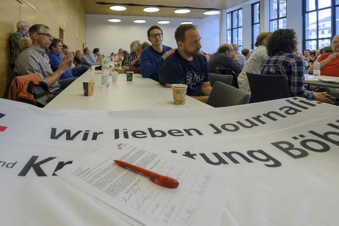 Unterschriftenliste der Streikenden an die Verleger mit der Forderung für einen fairen Tarifabschluss. Quelle: Joachim E. Röttgers GRAFFITI
