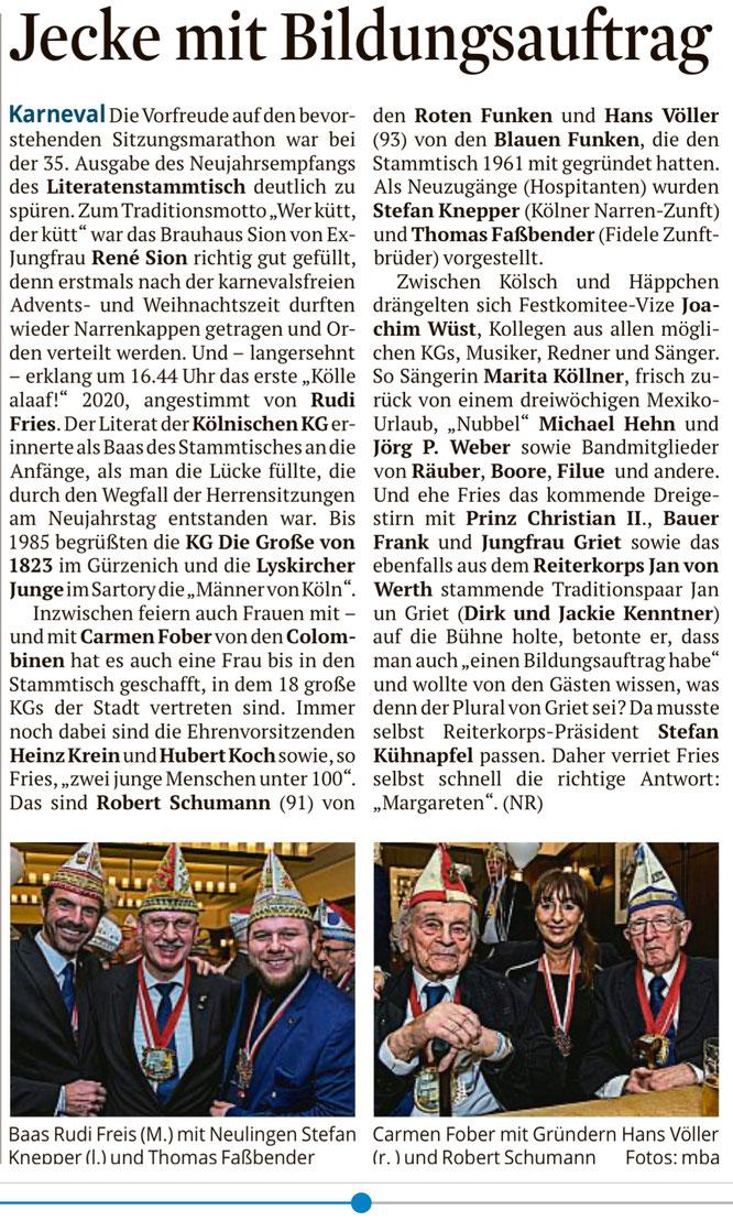 Kölner Stadtanzeiger vom 2.1.2020
