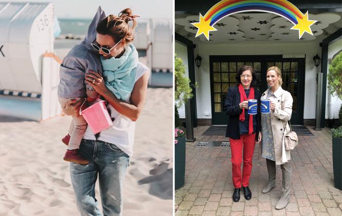 """Alexandra am Strand mit ihrer kleinen Tochter und bei der Übergabe der Spende ans Kinderhospiz """"Sternenbrücke"""""""