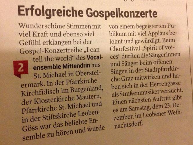 #VocalensembleMittendrin, I can tell the world, Gospel-Konzertreihe, Kleine Zeitung