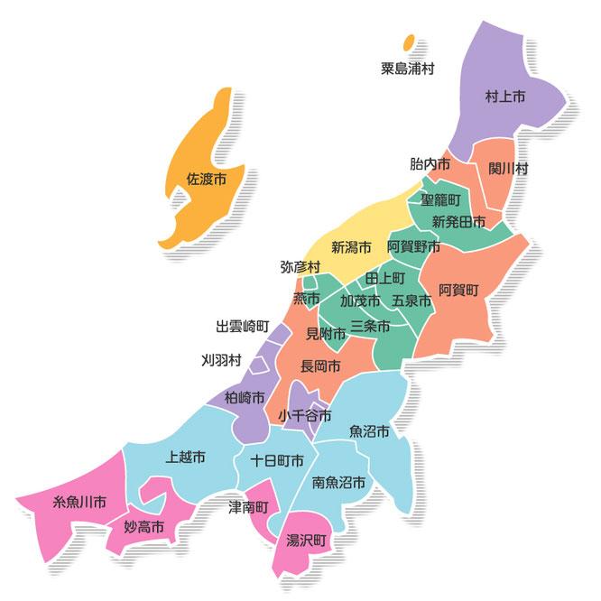 対応エリアMAP|新潟県の通信機器工事会社
