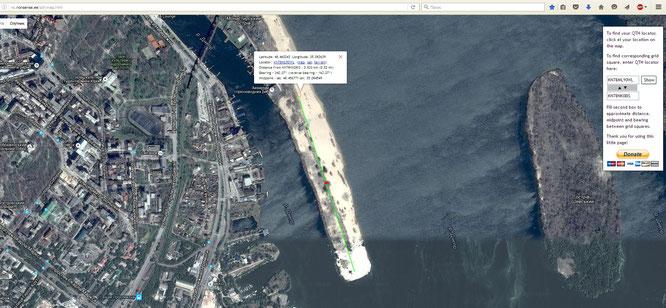 Определение расстояния (Два места на Монастырском острове)