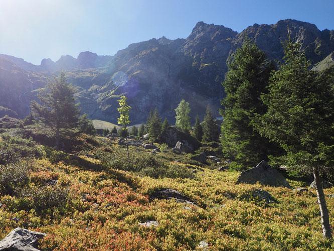 Belledonne l'automne. Ici vers 1700m en montant vers le Lac Blanc.