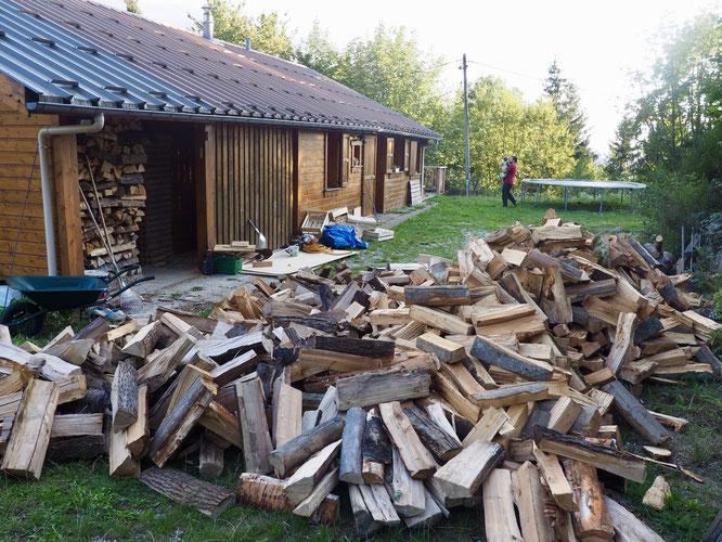Bon stock de bois pour les hivers à venir. Pas sûr que tout rentre dans l'abri à bois de notre gîte d'étape de Freydières...