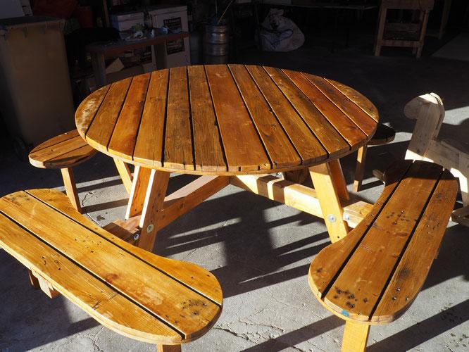 Du mobilier fabriqué à partir de bois de récup (pallettes ou autres).
