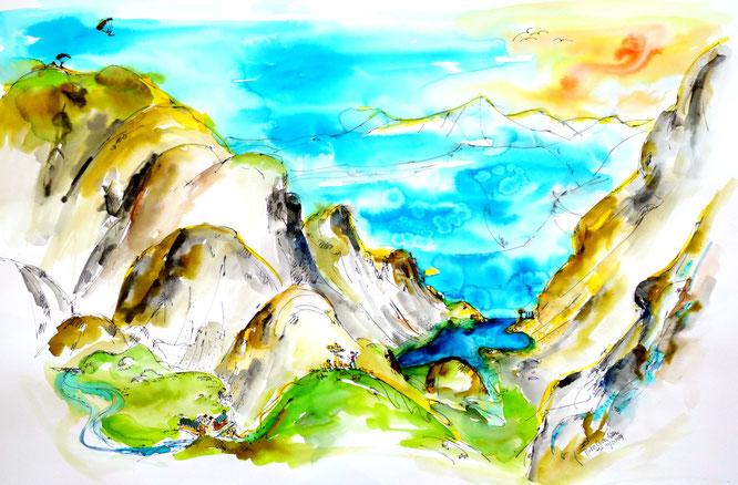 Pour la réouverture de la Gélinotte, Lucie de Pirko Créations nous prépare des cartes postales de Belledonne. Avec ici la Lac du Crozet, à 2000m au départ de Freydières. Merci Lucie !