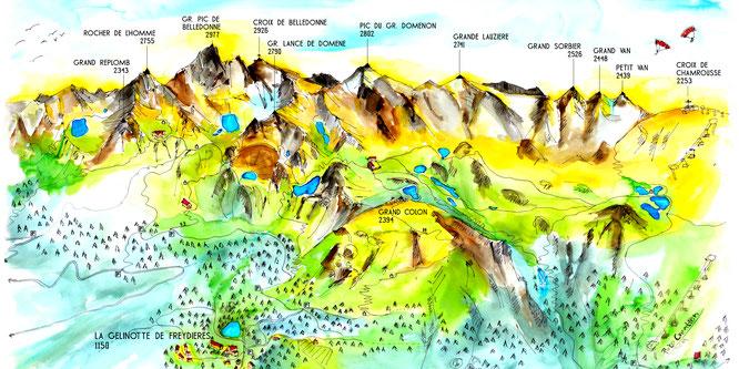 """Éditée par la Gélinotte, la toute nouvelle carte postale """"Les montagnes de Belledonne au départ de Freydières"""" est disponible. Un grand merci à Lucie de Pirko Créations"""