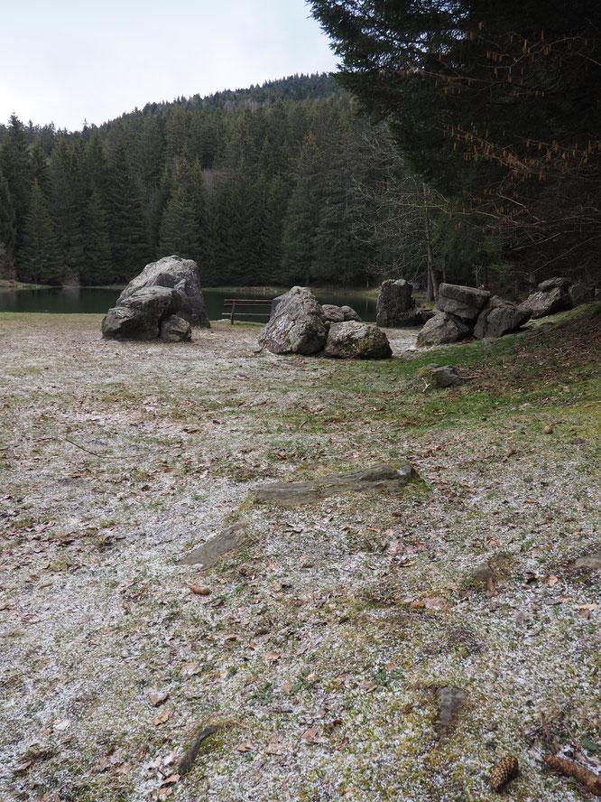 Trois flocons de neige nous ont rendu visite  ce matin autour du lac de Freydières... déserté !