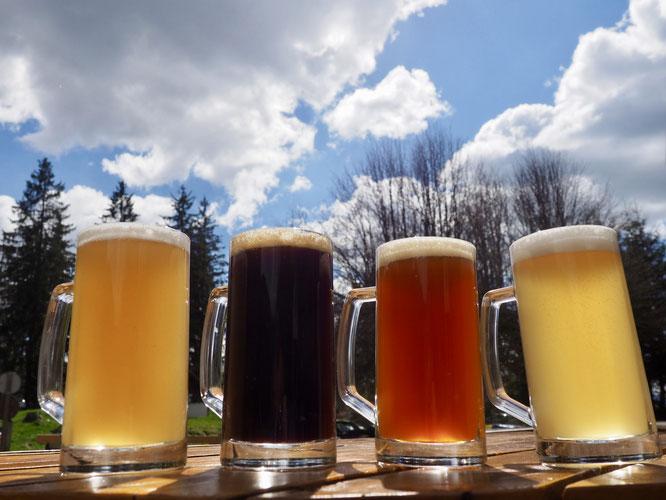 Elles vous attendent à la Gélinotte ! Les bières brassées à Freydières même !
