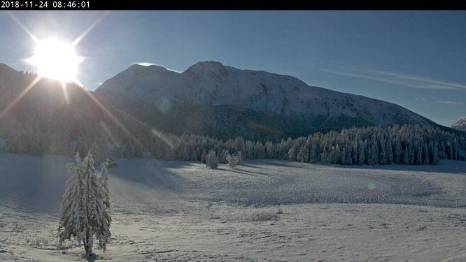 A 1600m ce matin le soleil arrive sur le plateau de l'Arselle (sud Belledonne)