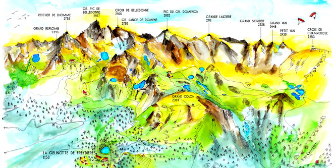 """Editée par la Gélinotte, la toute nouvelle carte postale """"Les montagnes de Belledonne au départ de Freydières"""" est disponible. Un grand merci à Lucie de Pirko Créations !"""