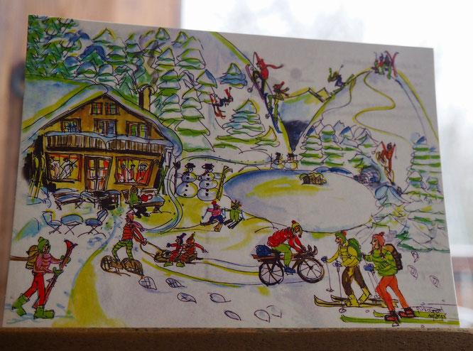 Carte postale de Pirkocréation disponible à la Gélinotte. Merci à l'artiste !