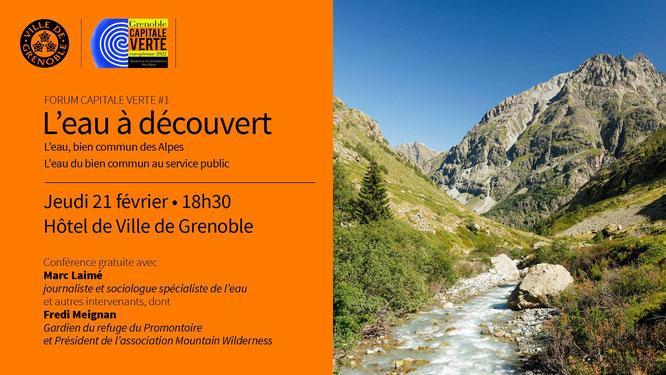 """""""L'eau, bien commun des Alpes"""". Canons en neige ? Ne faudrait-il pas réfléchir à un autre modèle de développement économique et écologique ?"""" Conférence """"L'eau à découvert"""" de la Ville de Grenoble. Demain soir."""