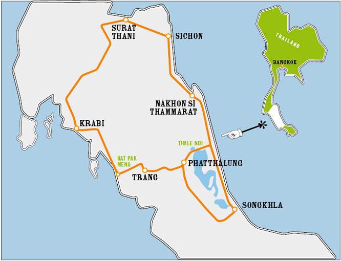 Die Streckenführung für den Thale Noi Loop