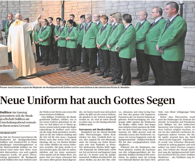 Oltner Tagblatt, 7.5.2018, S. 22 / Die MG Dulliken - unser Partnerverein in der Spielgemeinschaft Dulliken - Starrkirch-Wil - in ihrer neuen Uniform.