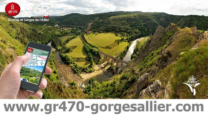 Partez en randonnée sur le sentier GR470 Sources et Gorges de l'Allier, depuis les gares de la ligne Sncf du Cévenol, entre La Bastide / Saint Laurent les Bains et Brioude.