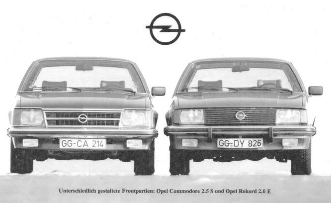 Unterschiedlich gestaltete Frontpartien: Opel Commodore 2.5S und Opel Rekord 2.0E