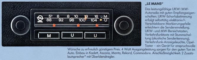 Opel Autoradio Le Mans