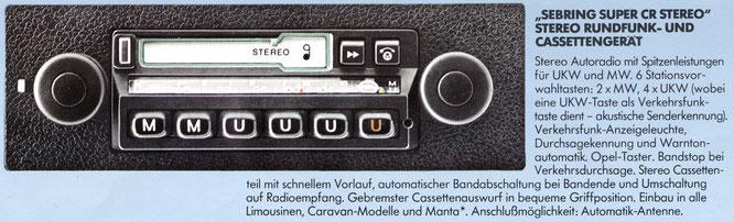 Opel Autoradio Sebring Super CR Stereo