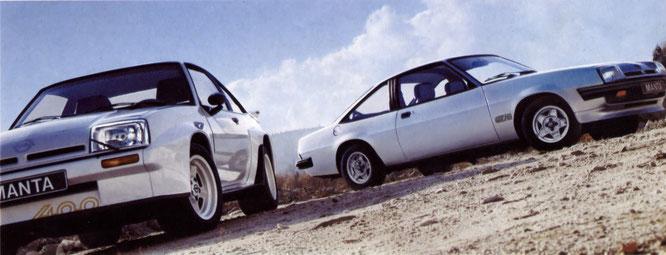 Manta 400. Umbaukarosserie, Leichtmetallfelgen 8 Jx15 und Stahlgürtelreifen 225/50 VR 15 sind Sonderausstattung.               Manta GT/E